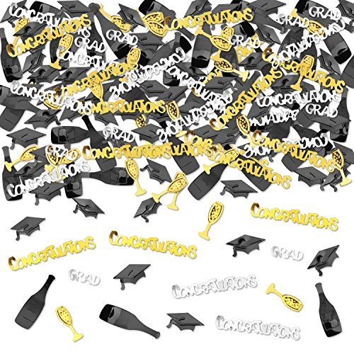 Konsait Graduation Party Supplies, Graduation Confetti Cheers Congrats GRAD & Graduation Caps Party Confetti Table Scatter Dessert Decor for 2018 Graduation Party accessories Graduation (Simple Graduation Decorations)
