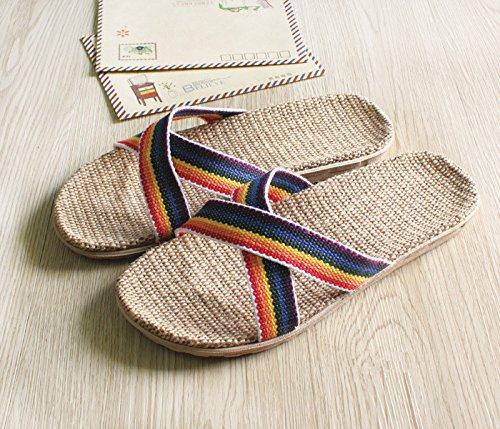 Pantofola Casa Homywolf Unisex Pantofola Di Lino Casa Pantofola Pantofola A Punta Aperta Leggera Traspirante Gialla