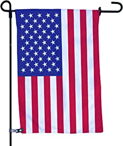 Vispronet American Flag Garden Flag, Double-Sided Outdoor Garden Flag and Flagpole, Decorative Flag for Homes, Yards, and Gardens, 12 x 18 Inch Flag with 36 Inch Flagpole