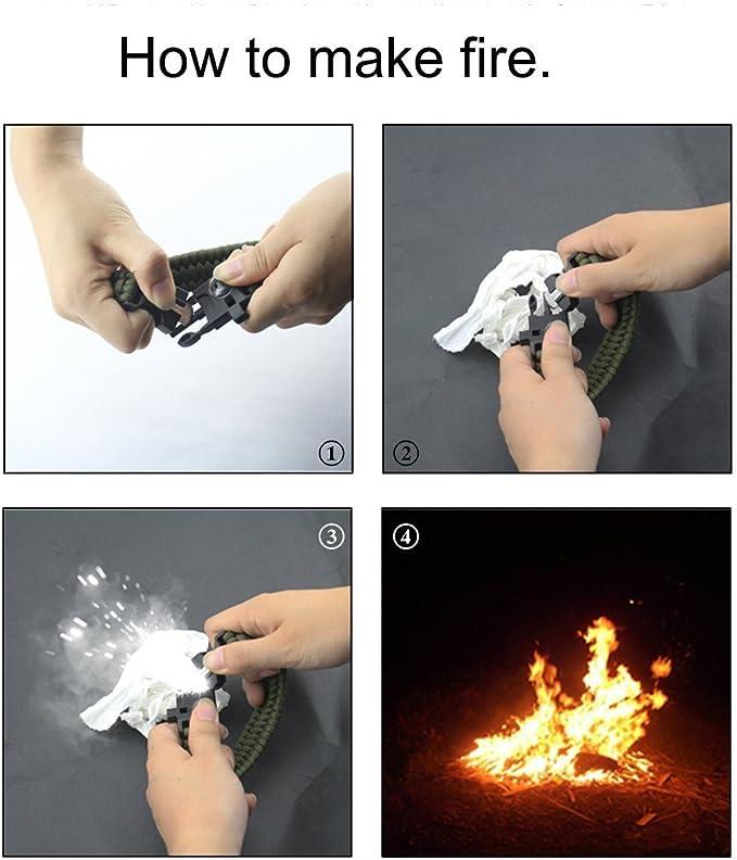 boussole Fire Starter Grattoir Flint montre de camping avec Camping multifonctions Kits de survie Paracorde Y Compris corde la p/êche Crochets Ligne de p/êche Cutter Survival Bracelet de montre sifflet