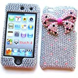 Apple iPod Touch 4 Snap-on Protector Hard Case Rhinestone Cover -Pink Ribbon on Silver Design