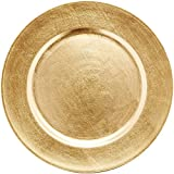 "Chargeit by Jay 13"" Classic Gold Round Chargers Plates, Set of 6"
