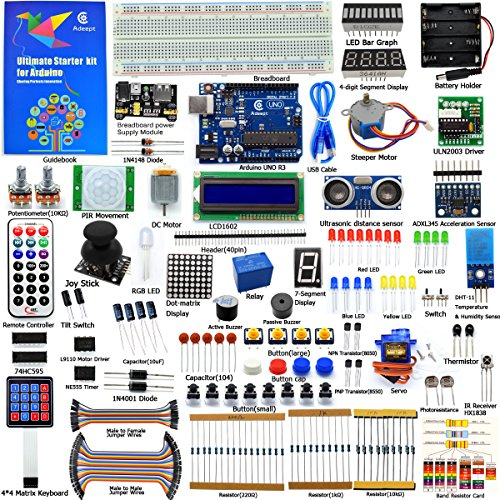 Adeept Ultimate Starter Kit for Arduino UNO R3, LCD1602, Servo Motor, Relay, Processing and C Code, Beginner Starter Kit with 140 Pages Guidebook/Instructions Book ()