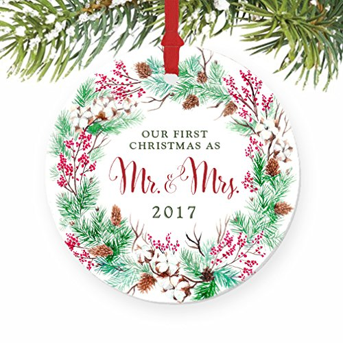 for the fun traditional newlyweds that are going to love a colorful ornament a nice option would be the our first christmas as mr mrs ornament 2017