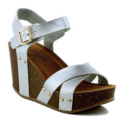 d4dd62d3d3e3 WestCoast Mara-05 Womens Ankle Strap Comfort Criss Cross Platform Wedge  Sandals Silver 5.5