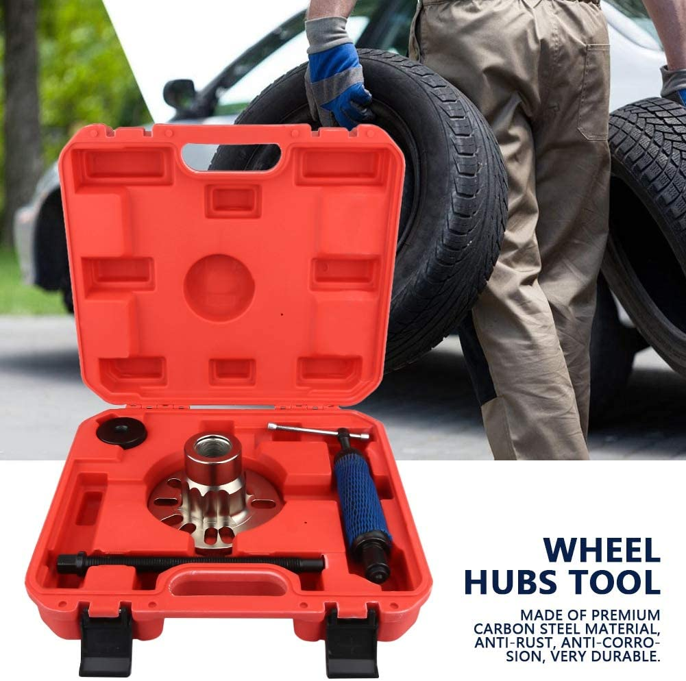 Hydraulic Wheel Hubs Tools Kit,10 Ton Wheel Hub Puller Hydraulic Wheel Hubs Ejector Drive Shafts Set for Vehicle Injectors with Carry Case