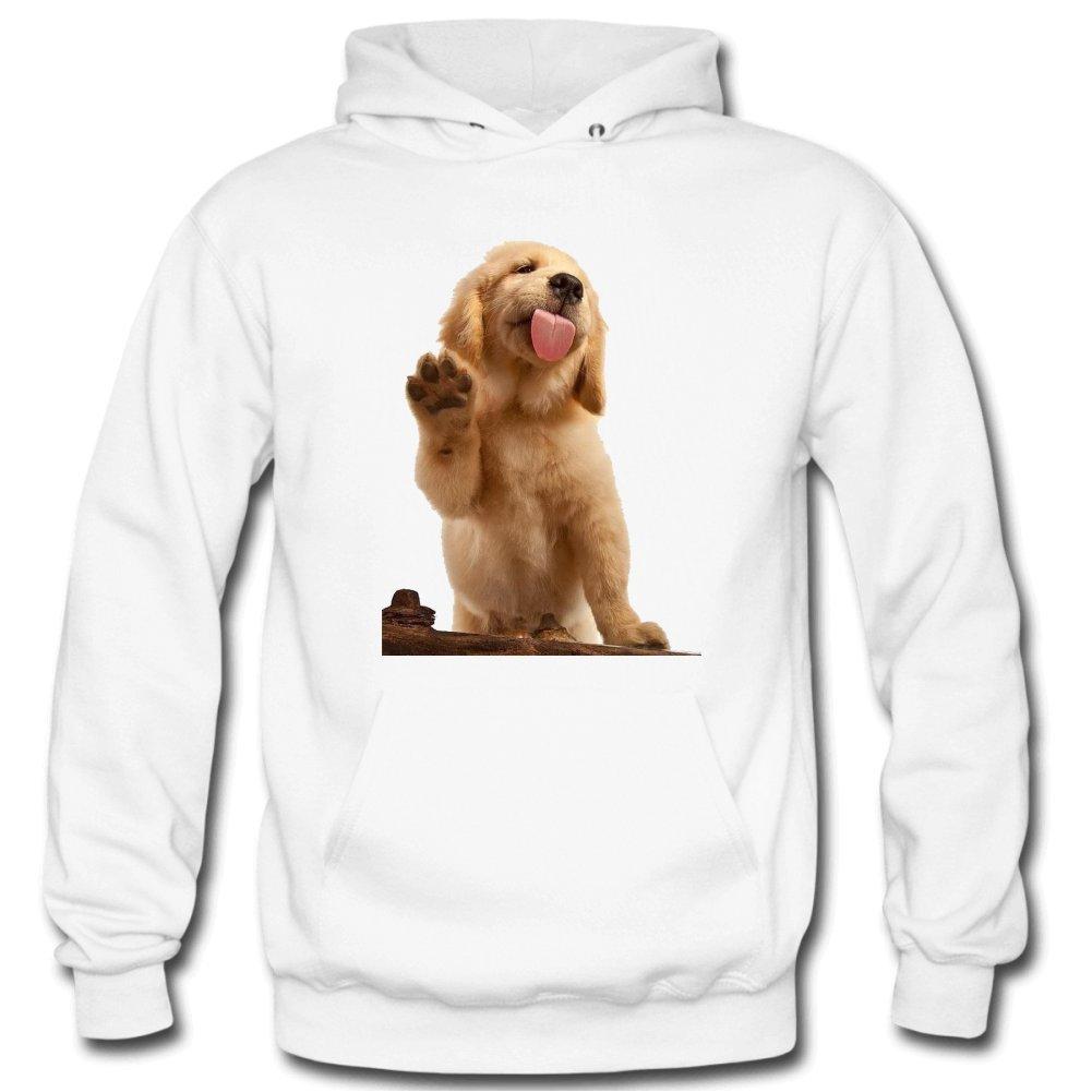 Sholtts2643 Mens Dog Long Sleeves Thin Hooded Sweatshirt M White