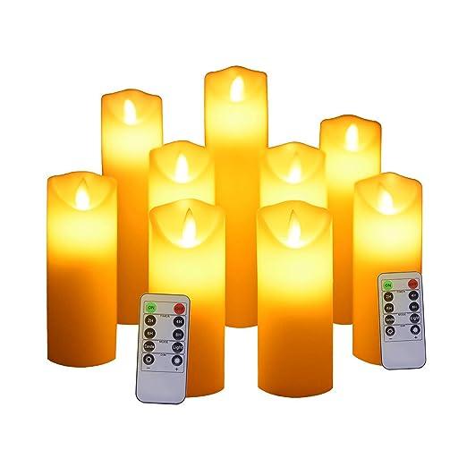 Ayrio Velas sin llama, juego de 9 luces de velas LED con ...