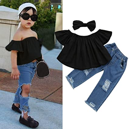 04ecf15c778ca NEARTIME ❤️Baby Clothes Set,Hot 2018 Newborn Cute Infant Baby Off Shoulder  Crop Tops + Hole Denim Pant Jean Headband Toddler Kids Clothes