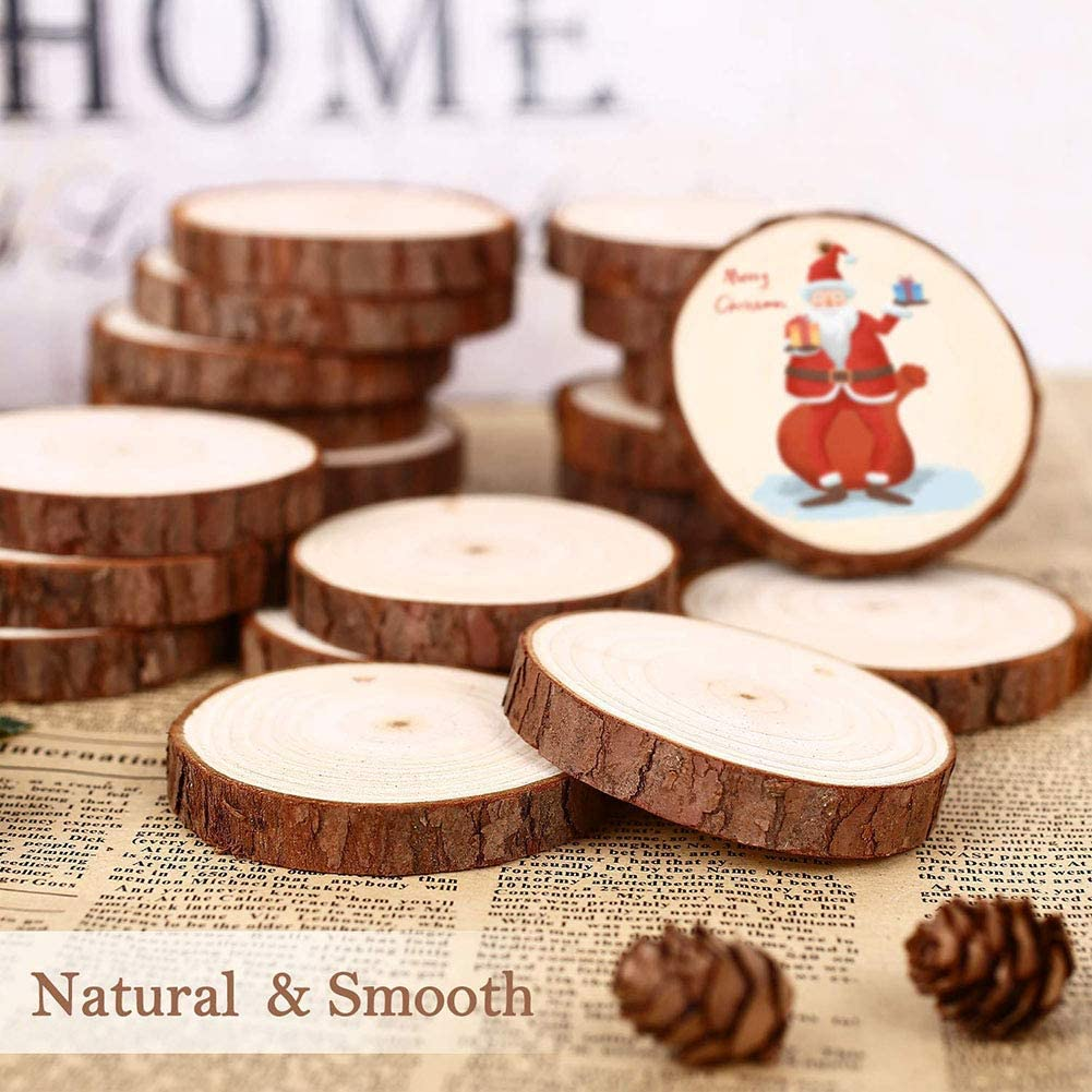 Goosheep 30Pcs Unfinished Natural Wood Slices Predrilled 2.4-2.8 Wooden Circles with Hole with 33Ft Natural Cotton Rope,Christmas Ornaments Home Decorations,DIY Crafts