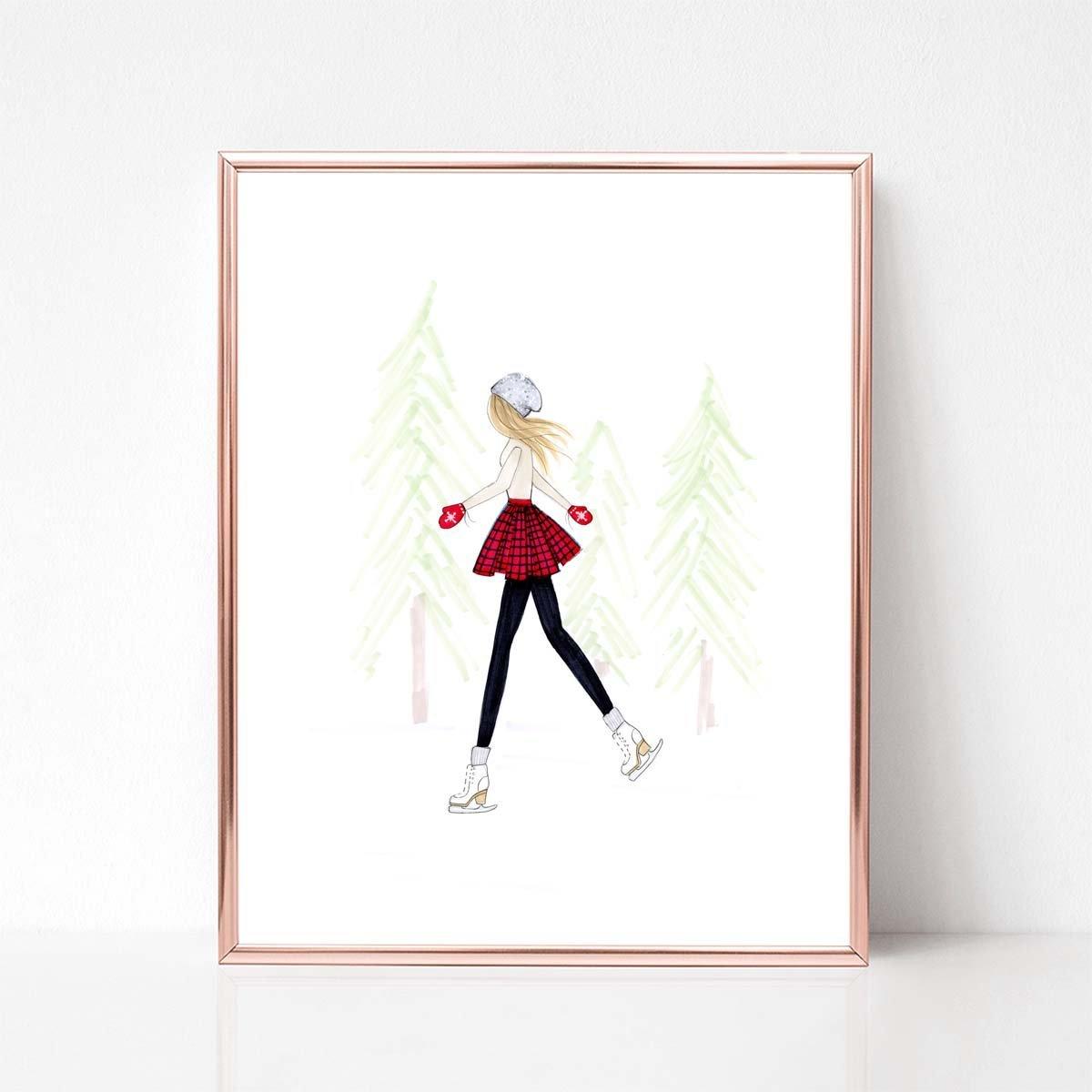 Customizable Hair Color Winter Skater Fashion Illustration Art Print