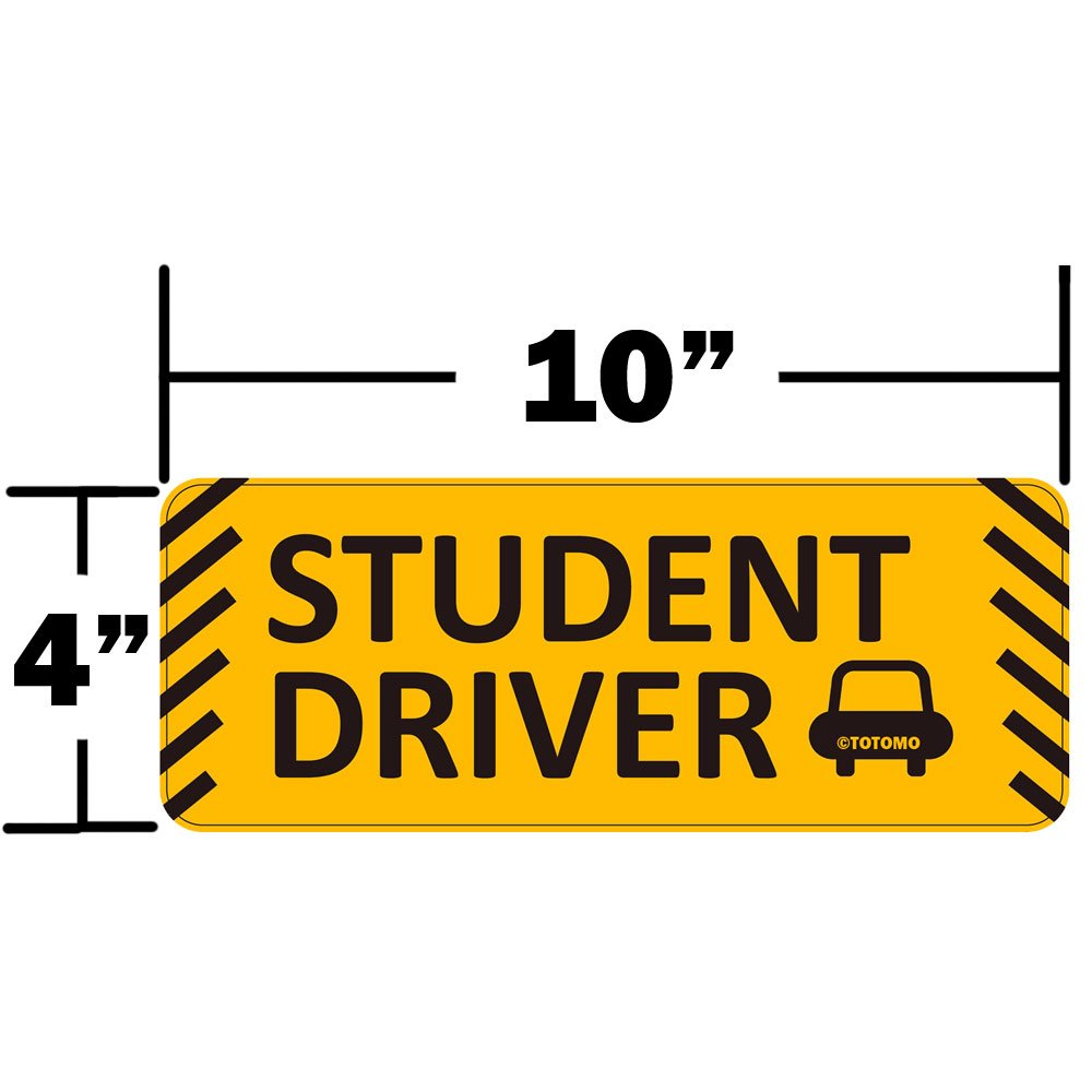 Set of 2 Student Driver Magnet 12x3 Highly Reflective Premium Quality Car Safety Caution Sign for New Student Drivers TOTOMO #SDM02