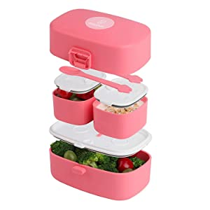 Stacking Bento Box Lunch Box 3 Compartments - Leakproof Bento Lunch Box - Microwave & Dishwasher Safe Bento Boxes for Kids & Adults - BPA-Free Bento Box for Portable Meals and Snacks