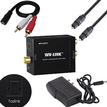 wv-link coaxial óptico digital a analógico RCA conversor de audio adaptador con cable de