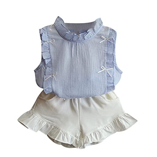 1ac1aa0606a Verypoppa Baby Girls Flounce Sleeveless Blouse + Shorts Outfits (2-3 Years
