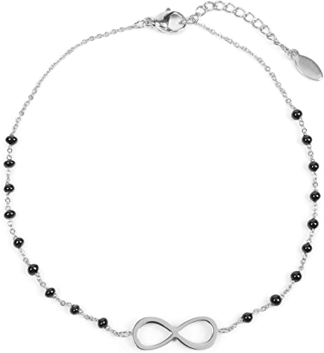 Tobillera de Mujer con Colgantes con el símbolo del Infinito y Perlas, Cadena de eslabones, Cierre de mosquetón, Cadena, bisutería