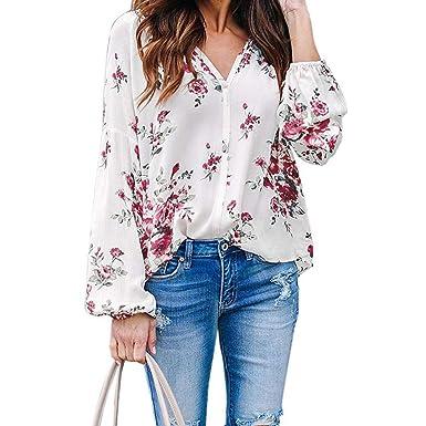 LOPILY Blusas para Mujer Elegante Estampado Floral tee Cuello en V ...