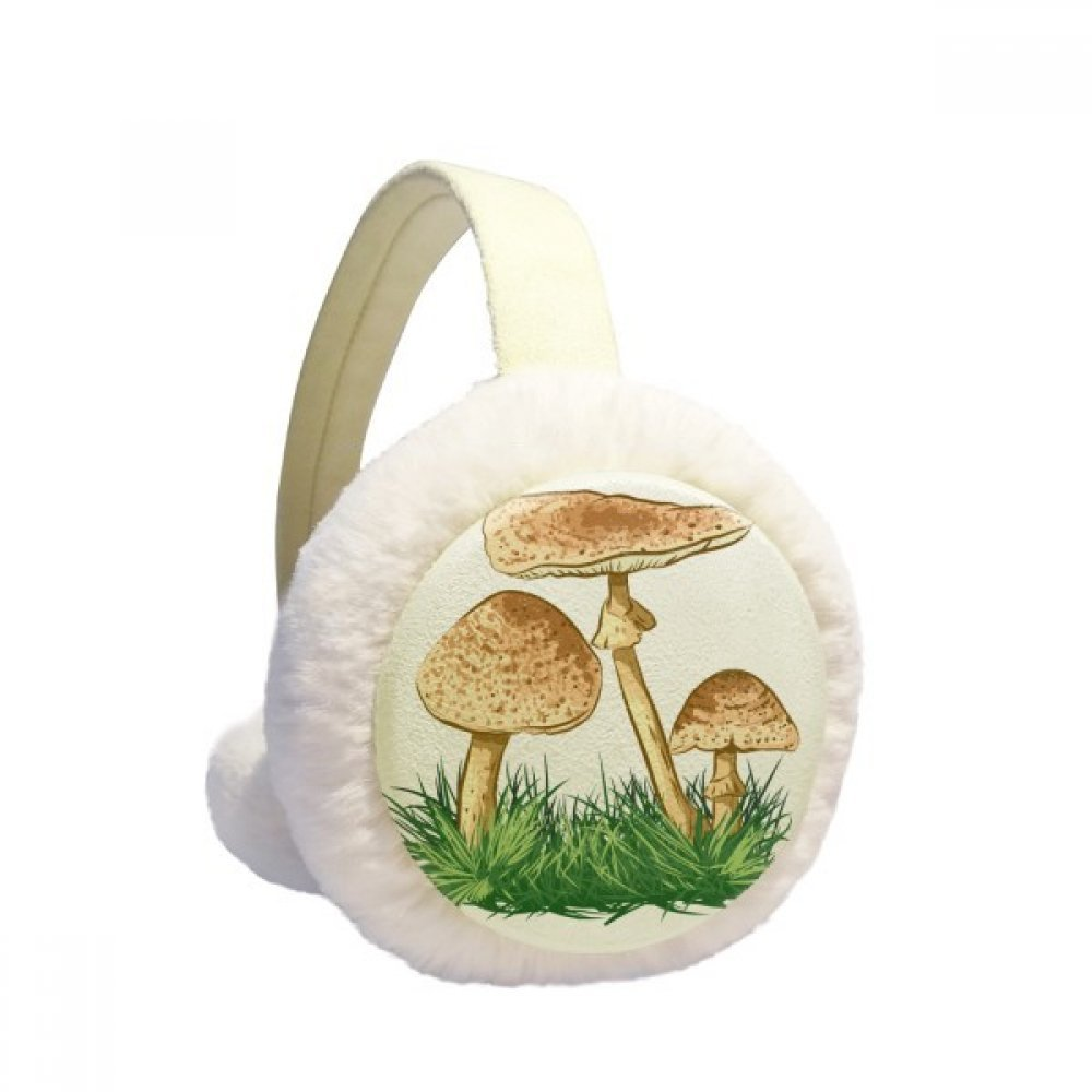 Cute Green Plant Truffle Illustration Winter Earmuffs Ear Warmers Faux Fur Foldable Plush Outdoor Gift