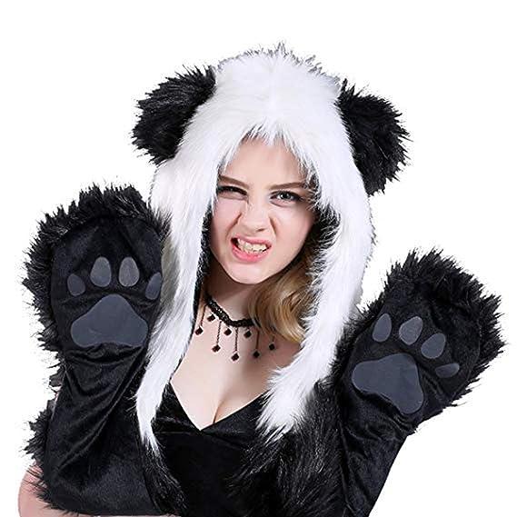 3ee58cb0751 oboss Faux Fur Animal Hat Scarf Gloves Mittens Long Scarf 3-in-1 Function  Furry Hoodie for Women Teen Girls (Panda)  Amazon.co.uk  Clothing