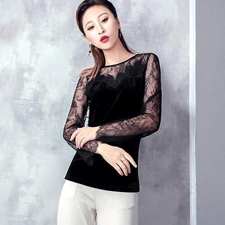 XL_nsxjfz Camisa de Malla de Manga Larga para Mujer Camisa de ...