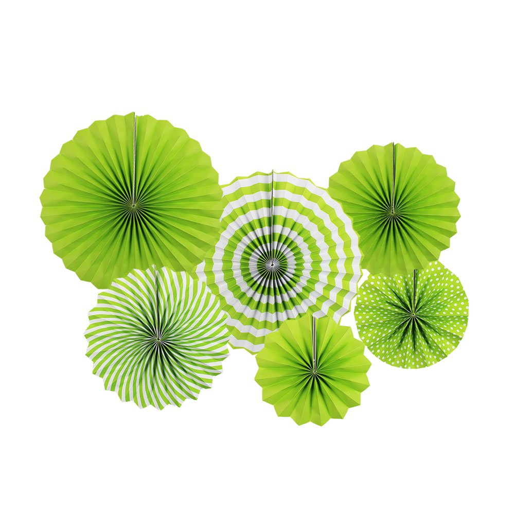 Zilue Bright Colorful Hanging Paper Fans Set Round Pattern Paper Garlands Decoration for Party Birthday Events Accessories Green