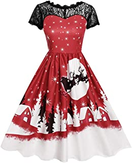 BaojunHT Vintage Lace Short Sleeve Christmas Colume, Santa Claus Through Moon Night Print Swing Dress