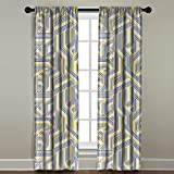 The Pillow Collection Rod Pocket Geometric Stripes Window Panel, 84'' Long, Gold