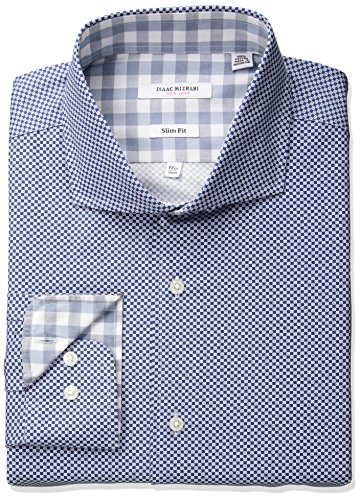 Mens Cutaway Collar Shirt - Isaac Mizrahi Men's Slim Fit Fancy Cut Away Collar Dress Shirt, Fashion Blue, 15.5
