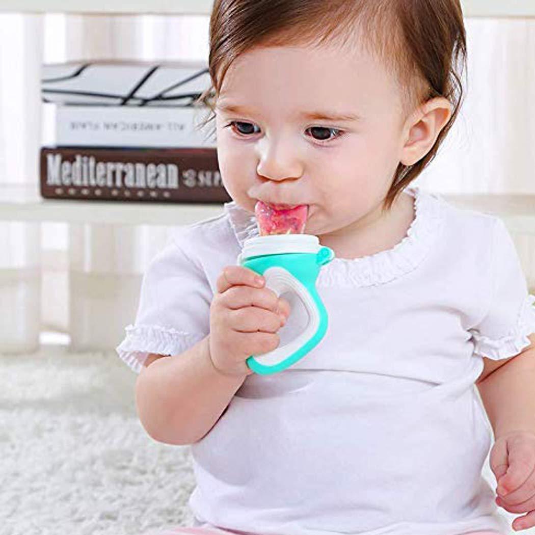 2 Fruchtsauger f/ür Baby /& Kleinkind 3 Silikon-Sauger in 3 Gr/ö/ßen Schnuller Bei/ßring f/ür Obst Gem/üse Brei Beikost BPA-frei