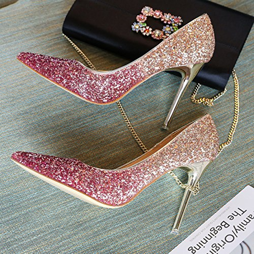 Purple Shoes 10Cm Bride'S Followed Gradients Shoes Spring 37 The Work Mother Wedding Heeled Tip Shoes With MDRW High Single Fine Lady Elegant Gold Leisure pvnq0U1