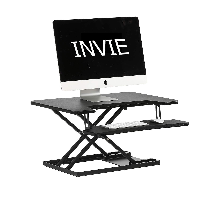 INVIE Adjustable Standing Desk Sit to Stand Gas Spring Riser Converter Desktop Workstation Removable Keyboard Tray