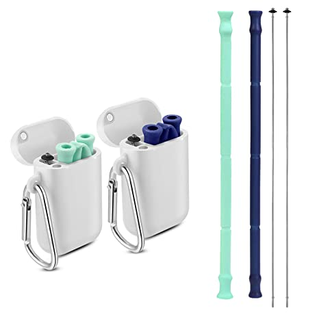 Yoocaa Reusable Silicone Collapsible Straws - 2 Pack Portable Drinking  Straw with Carrying Case and Cleaning Brush, BPA Free - Blue & Green