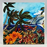 Ceramic Tile - ''Secret Spot'' Artwork by Candace Lee. Made in Hawaii. Comes in 3 sizes 4.25'', 6'' or 8''. Wall hanging or Trivet.