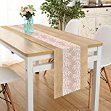 Lucky Monet 5Pcs Burlap Hessian Jute Table Runner Rustic Natural Table Decoration Lace Table Runner for Wedding Party Birthday Engagement Hotel Home Décor (12'' x 108'', 5pcs)