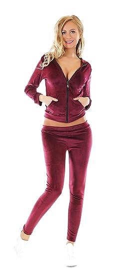 46f8a90edfe fashion boutik Ensemble 2 Pieces Survetement Jogging Femme Sexy Tendance  Aspect Velours (Bordeaux