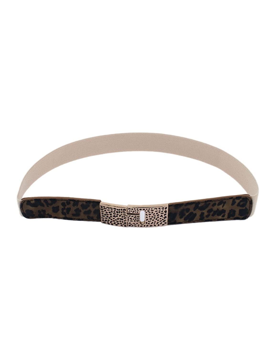 uxcell Faux Leather Lady Waist Belt Narrow Waistband Leopard Color