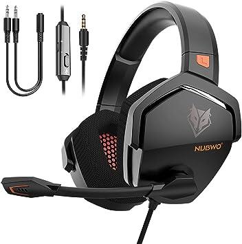 Todo para el streamer: NUBWO Auriculares Gaming PS4,Cascos de Gaming PS4 Estéreo con Micrófono Plegable Para PC PSP Xbox One,Gaming controlador de 50MM,Auriculares de Juegos con Cable de 3,5 mm,Auriculares con micrófonos.