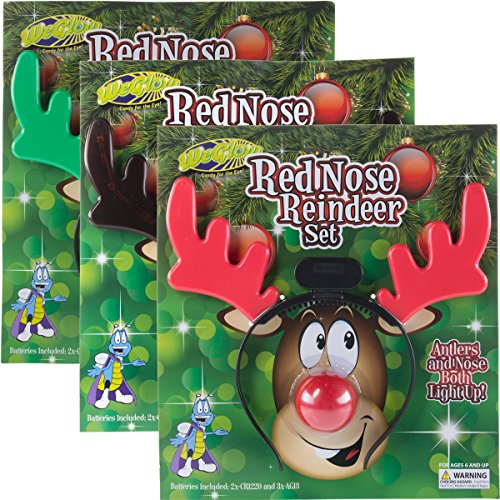 WeGlow (3 Pack Light Up Reindeer Rudolph Red Nose & Antlers Headband Set Christmas Costume