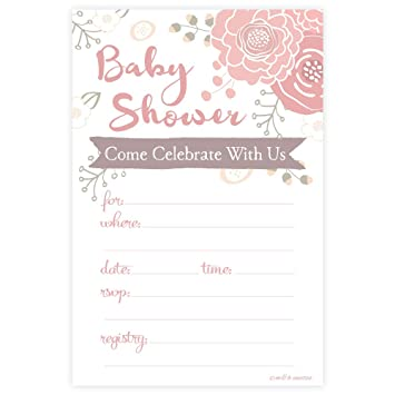 Amazoncom Blooming Floral Baby Shower Invitations Fill In Style