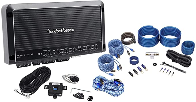 Rockford Fosgate Prime R600X5 600W RMS 5-Channel Car Amplifier + Amp Kit + RCAs