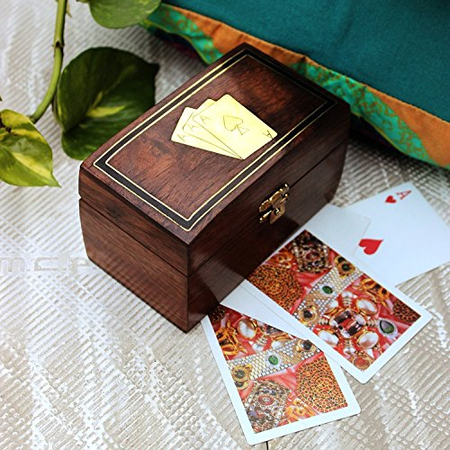 Decorative Wooden Double Deck Playing Cards Holder Box Game Case with Handcrafted Brass Ace Design