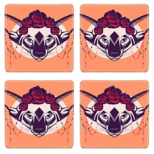 MSD Square Coasters Non-Slip Natural Rubber Desk Coasters design 30728555 Fashion portrait of cat in a wreath of roses and beads ()