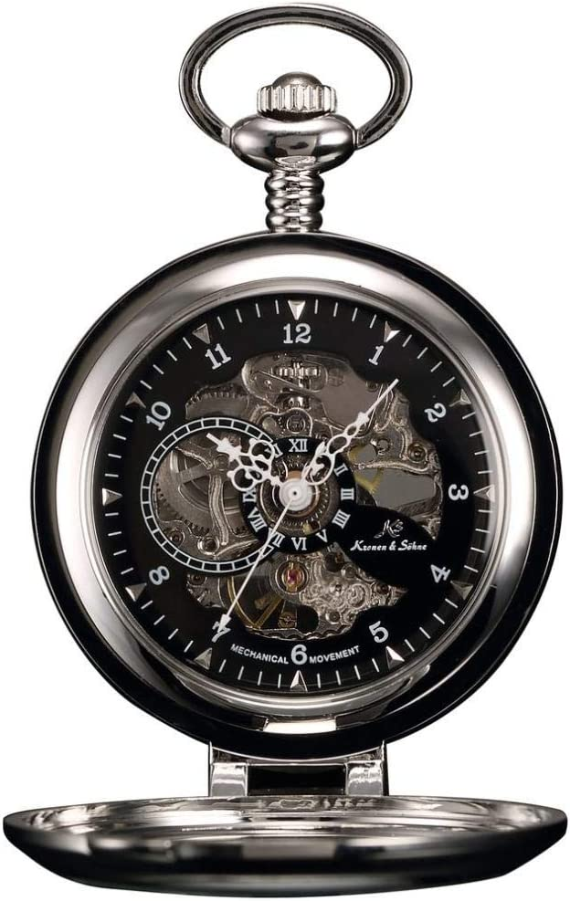 LXDDP Reloj de Bolsillo Negro Esqueleto autoportante Caso analógico Mano Viento mecánico Reloj Fob Colgante Cadena Steampunk Hombres Reloj de Bolsillo