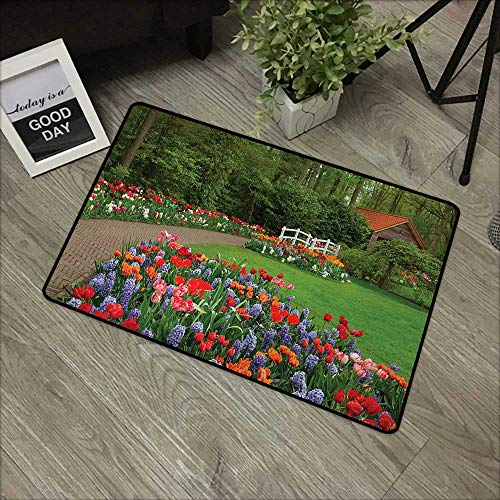 Moses Whitehead Bathroom Entry mats Garden,A Spring Garden with Forest Hut Small Bridge Plants Flowerbeds and Walkway,Green and Purple,for Daily Use-Stylish Floor Mat ()