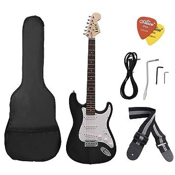 Wgrdyq Guitarra eléctrica St Serie Guitarra eléctrica Principiante práctica Profesional Tocando Guitarra eléctrica,Black: Amazon.es: Hogar
