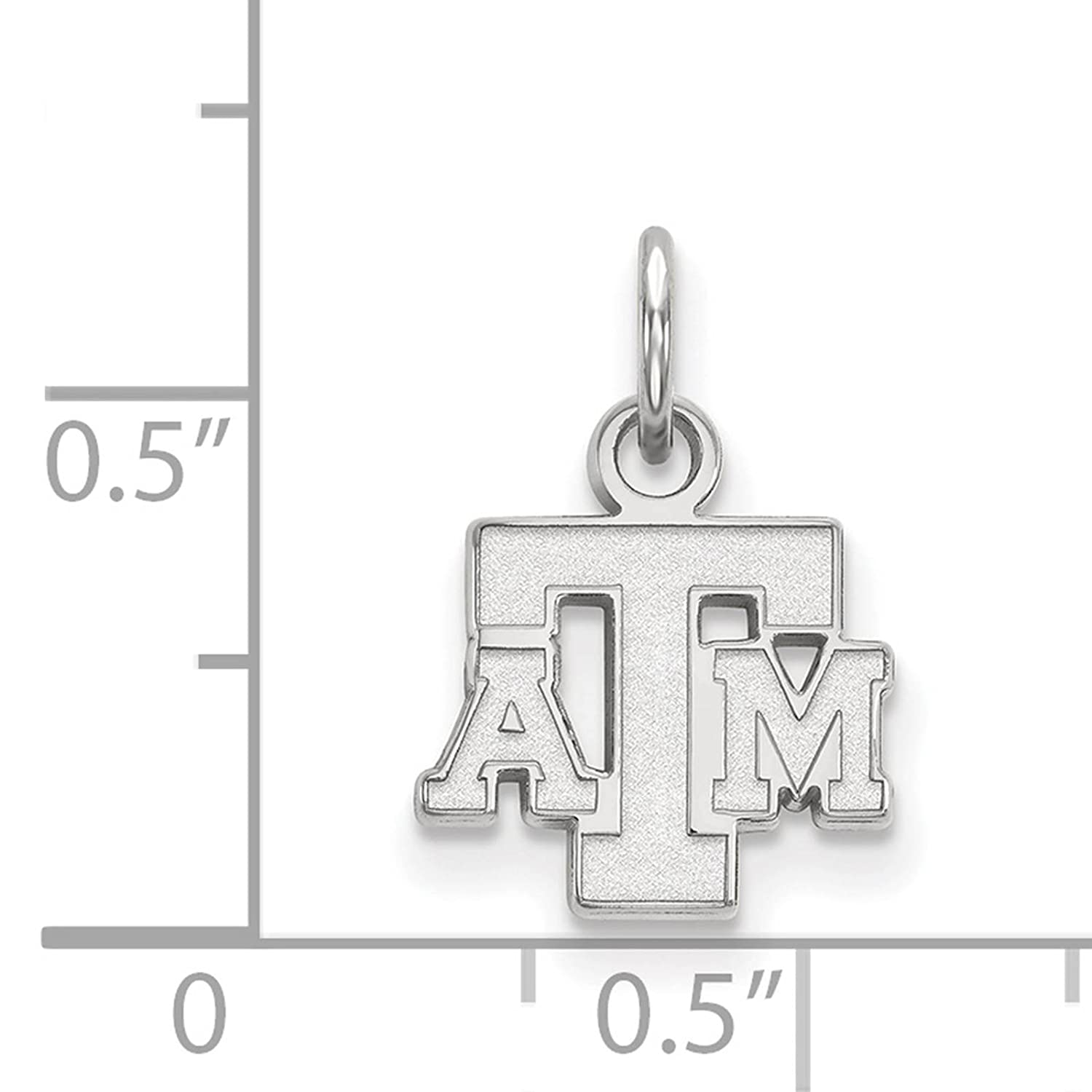 925 Sterling Silver Rhodium-plated Laser-cut Texas A/&M University XS Pendant