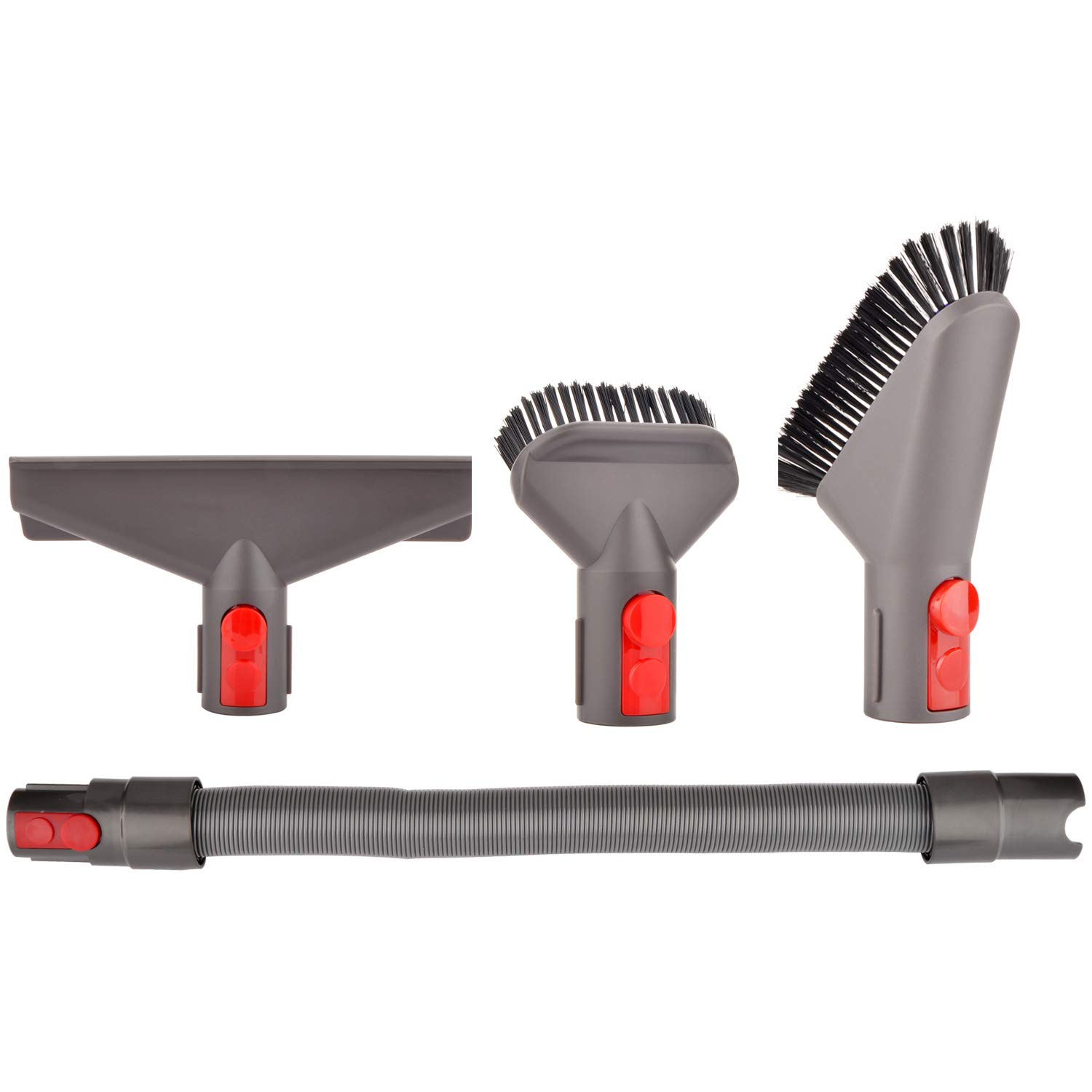 Brush Accessories Compatible with Dyson V8 Absolute Animal V7 Absolute Animal Trigger Motorhead V10 Absolute Animal Motorhead Attachments (f-mattress tool+hose+stubborn dirt brush+soft dusting brush)