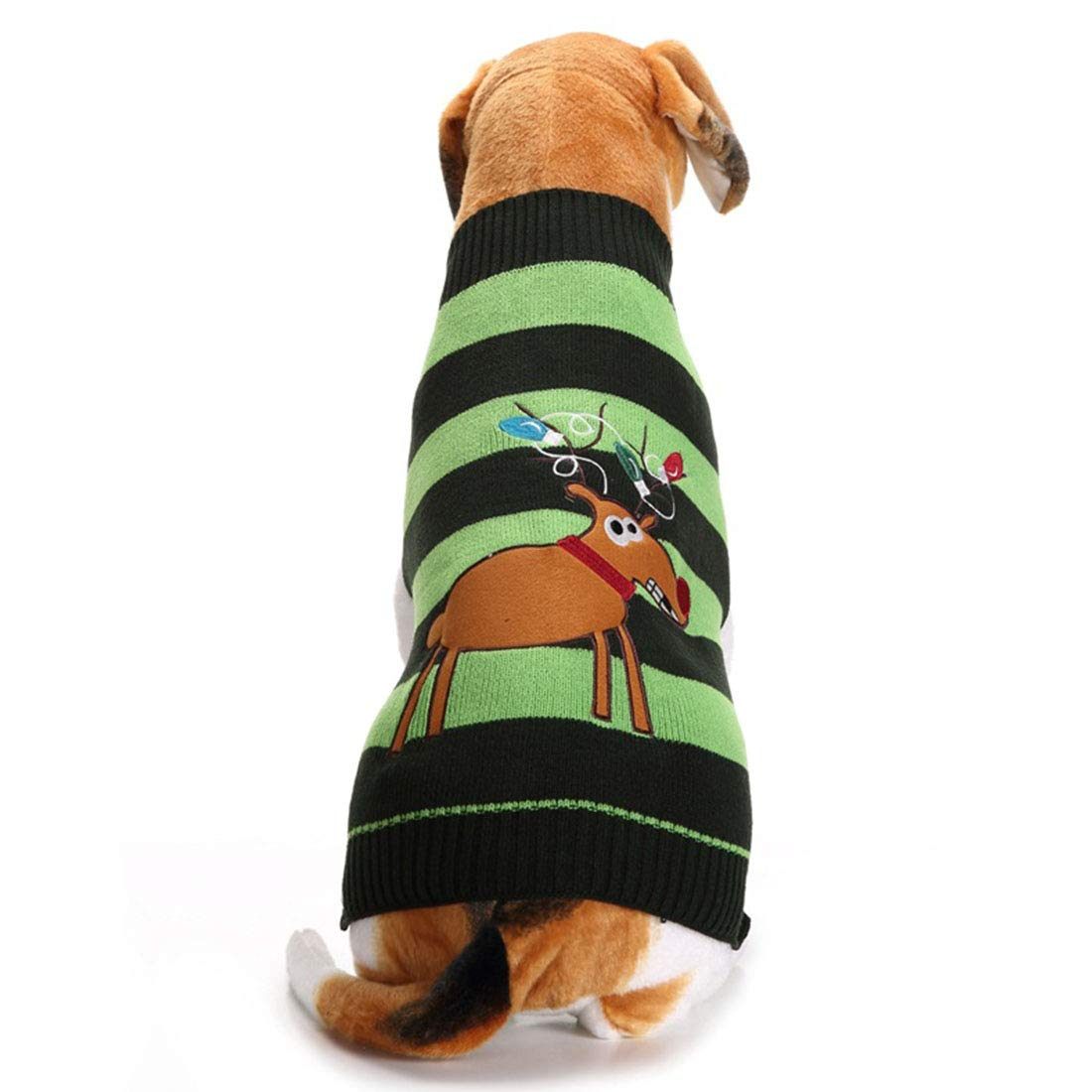 Green S Green S AUSWIEI Autumn and Winter Dog Clothes Christmas Elk Sweater Pet Sweater (color   Green, Size   S)