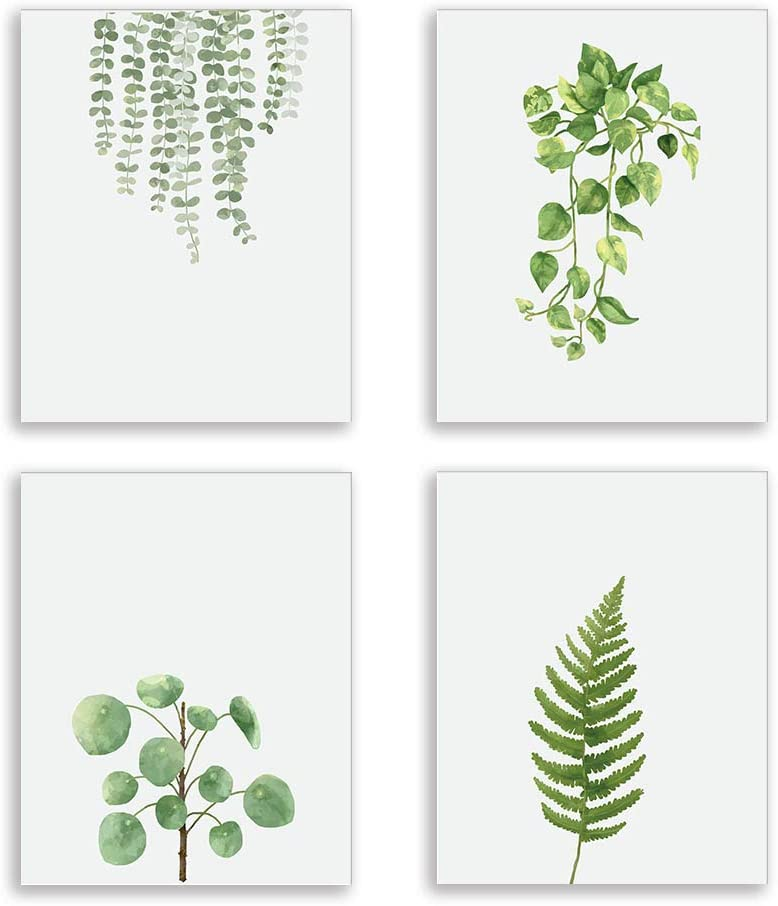 Modern Green Plant Series Wall Art Prints Watercolor Green Leaves Poster and Print Canvas Painting Wall Prints for Bed Room Living Room Home Kitchen Wall Art Decor (Set of 4) 8x10 inch Unframed