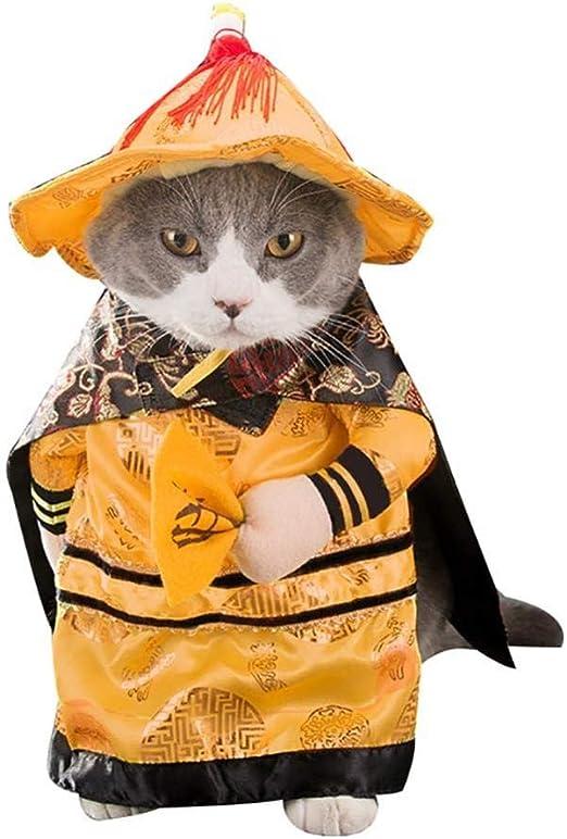 YZERTLH Vestido De Corte De Gato Suéter De Ropa De Gatito para Gato Princesa China Divertida Ropa De Cosplay para Gatos Perros Disfraces De Navidad De Halloween Gatos Ropa,Emperor-S: Amazon.es: Hogar
